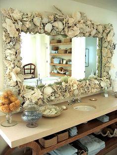 Beach House, Large Shell Mirror, by Mili la Mancha. This is an idea to do in the home. Coastal Homes, Coastal Living, Coastal Decor, Seashell Crafts, Beach Crafts, Diy Crafts, Beach Bathrooms, Bathroom Mirrors, Coral Bathroom