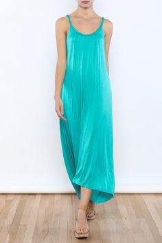 Aqua midi dress with a high low hem scoop neckline and braided detailing.  Aqua Dress by Bacio. Clothing - Dresses - Casual Clothing - Dresses - Midi Boston Massachusetts Manhattan New York City Nolita Manhattan New York City