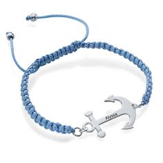 Sail away with summer's latest hit, Anchor Jewelry! Anchor Bracelet with Engraving and Shamballa Cord
