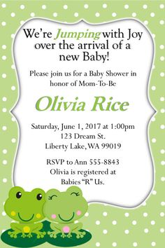Making Memory Design  Frog Baby Shower Invitation. Dimension for invitation is 4 x 6 (5 x 7 available upon request) You can also get the entire Frog Invitation package which includes a Diaper Raffle, Book Request, and matching Thank You Card.  Step 1.  Choose how you would like to receive your invitation.  I. Digital file (either JPEG or PDF)   Step 2.  Confirm your customization(s) one of two ways.  I. Send an email to MakingMemoryDesign@gmail.com containing:  a. Customized Wording i. Event…