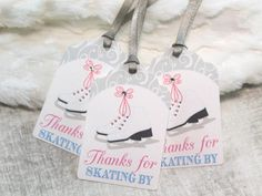Set of 12 Thank You Tags Gift Tags Favor Tags Invitations Ice Skate Invitations Snowflake Birthday Party Theme Pink Silver Blue Iceskating by mimsysnest on Etsy https://www.etsy.com/listing/212751256/set-of-12-thank-you-tags-gift-tags-favor