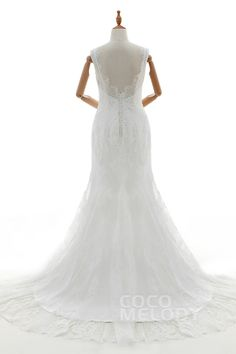 Gorgeous Trumpet-Mermaid V-Neck Natural Court Train Tulle and Lace Ivory Sleeveless Open Back Wedding Dress with Appliques and Beading LD4232 #weddingdresses #cocomelody #backinterestdresses #customdresses