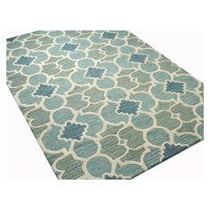 Kirke Aqua Geometric Wool Hand-Tufted Area Rug ❤ liked on Polyvore featuring home, rugs, geometric area rugs, aqua area rug, wool rugs, geometric wool rug and blue green area rug