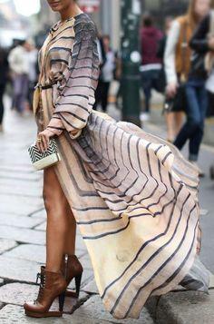Long open front dress