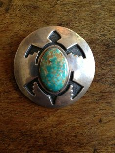 Amazing Vintage Hopi Sterling Silver Natural Turquoise Turtle Overlay Pendent.