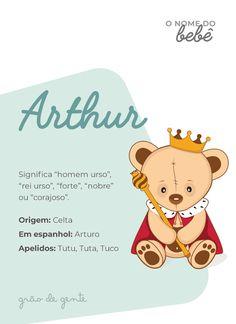 As mamães de menino vão se encantar com o significado de Arthur, que traz uma aura de nobreza e coragem! #arthur #nomes #gravidez #maternidade Baby Shawer, Baby Bibs, Baby Love, Boy Names, How To Know, Future Baby, Lettering, Kids, Nail