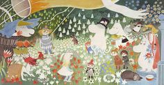 The Moomin Family - Illustration by Tove Jansson Moomin Books, Les Moomins, Moomin Valley, Tove Jansson, Book Images, Children's Book Illustration, Illustrations Posters, Painting & Drawing, Childrens Books