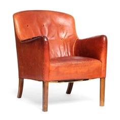 Leather Lounge Chair by Ole Wanscher | See more antique and modern Lounge Chairs at https://www.1stdibs.com/furniture/seating/lounge-chairs