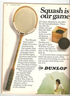 A Squash Player advert from yesteryear #dunlop