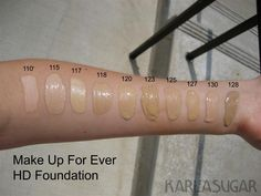 Blog Helder Marucci: Make Up For Ever HD Foundation Swatches...EVERY Color!!!