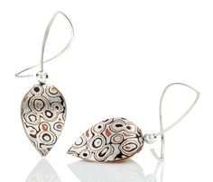 These Tulip Earrings in sterling silver with mokume gane were a collaboration between Jayne Redman and Andrew Nyce.