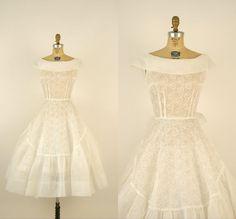1950s Wedding Dress / Vintage Sheer White Cotton, Dalena Vintage.