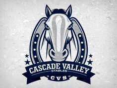 This was a fun logo concept for Cascade Valley Stables. They are a traveling Barrel Racing team. They wanted something with an intimidating horse in it so I came up with this idea. They ultimately . Logo Caballo, Mustang Logo, Horse Logo, Ai Illustrator, Racing Team, Logo Concept, Cool Logo, Stables, Logo Design