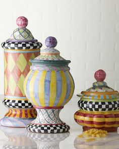 "MacKenzie-Childs ""Odd Fellows"" & ""Piccadilly"" Canisters on shopstyle.com"