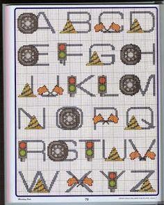 Alfabeto para eventos de Fórmula 1, para punto de cruz.