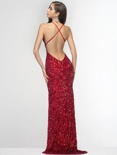 SC47515 Plunge Bead and Sequin Prom Dress by Scala - Red, Back View Medium