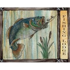 Donna Knold Stretched Canvas Art - Lodge Fish - Small 11 x 14 inch Wall Art Decor Size. Lodge Decor, Wall Art Decor, Moose Art, Canvas Art, Poster Prints, Rustic, Stretched Canvas, Painting, Animals