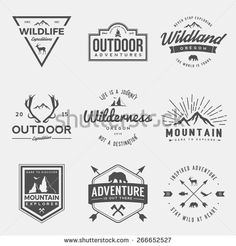 vector set of wilderness and nature exploration vintage  logos, emblems, silhouettes and design elements
