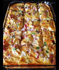 Farmer's Casserole 3 cups frozen hash browns cup shredded monterey jack pepper cheese 1 cup cubed cooked ham cup green onion, well chopped 4 well beaten eggs 1 ounce) can evaporated milk teaspoon black pepper teaspoon salt Directions Breakfast And Brunch, Breakfast Dishes, Breakfast Recipes, Overnight Breakfast Casserole, Hashbrown Breakfast Casserole, Gluten Free Breakfast Casserole, Breakfast Cereal, Egg Cassarole, Egg Bake With Hashbrowns