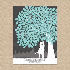 Wedding Tree Guestbook - Personalized Skyline & Silhouette Tree Print, 175 Signature Guestbook Print, Size- 16x20. $60.00, via Etsy.