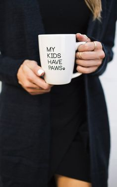 Calling all animal lovers! Our My Kids Have Paws Mug is perfect for you. Sip your morning coffee in our My Kids Have Paws Mug while snuggling up with your furry friend. Our white mug features black te Shiba Inu, Crazy Cat Lady, Crazy Cats, I Love Dogs, Puppy Love, Stars Disney, Game Mode, Leelah, Yorky