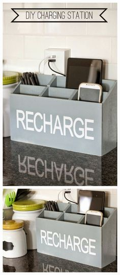 DIY Charging Station - the perfect spot to keep all your electronics charging!