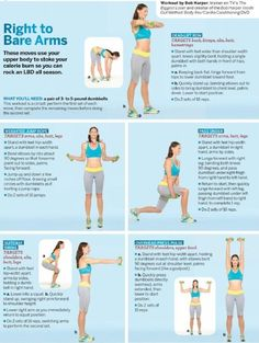 """Several different types of """"no-gym-needed"""" exercises for arms, legs, & tummy areas. Going to get dumbbells from Target this weekend."""