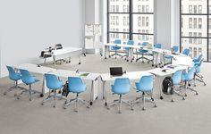 A new line of school furniture capitalizes on extensive research into the changing dynamics of the classroom. Modern Classroom, High School Classroom, Classroom Design, Classroom Decor, Office Space Design, Office Interior Design, Office Interiors, Classroom Furniture, School Furniture