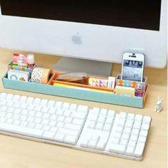 Computer desk organisation.