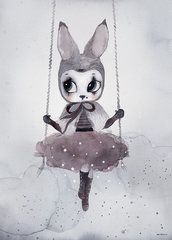 Nordic Decoration Girl Wall Art Canvas Painting Rabbit Posters And Prints Wall Prints Nursery Wall Pictures Cuadros No Frame Kids Prints, Canvas Art Prints, Canvas Wall Art, Wall Art Prints, Poster Prints, Reproductions Murales, Art Mignon, Picture Wall, Cute Art
