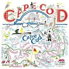 Cape Cod MA Map Souvenir Kitchen Towel Colorful Graphics $17.99