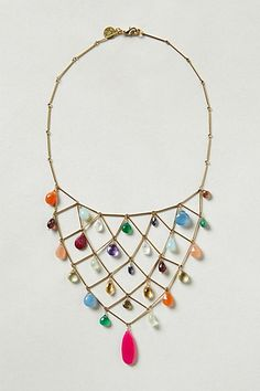 Raina Bib Necklace #anthropologie 18k gold plate, ruby, green onyx, moonstone, garnet, calcite, amethyst, chalcedony, citrine, tanzanite, emerald