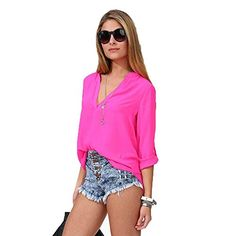 Usstore Women Blouse Leisure Loose Chiffon Long Sleeve Shirt Lap Tops M Hot Pink *** Check this awesome product by going to the link at the image.