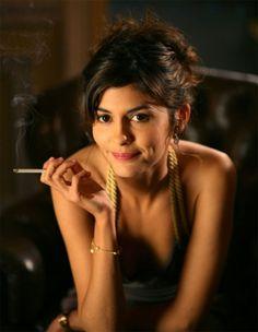 Celebrity Audrey Tautou smoking