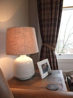 Checked Tarten Curtains in Fryett's Balmoral fabric in Mulberry with plaited hessian tieback Hessian, Plaits, Lounge, Curtains, Interiors, Living Room, Fabric, Home Decor, Bang Braids