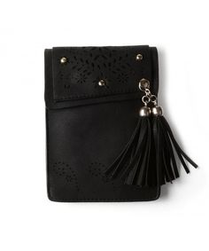 Women s Folk Style Mini Shoulder Bag Cellphone Pouch - Tassel Black -  CP182WNR28X 981d8dc7eb