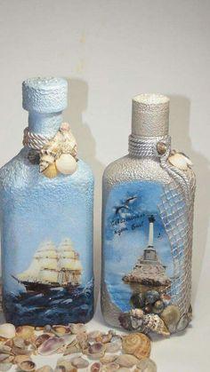 1 million+ Stunning Free Images to Use Anywhere Glass Bottle Crafts, Wine Bottle Art, Lighted Wine Bottles, Diy Bottle, Bottles And Jars, Decoupage Glass, Decoupage Vintage, Jar Art, Altered Bottles
