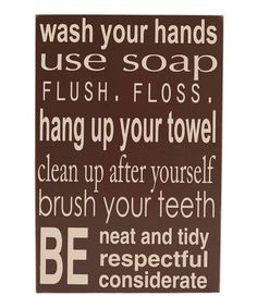 Take a look at this Brown Bathroom Rules Wall Art by Vinyl Crafts on #zulily today!
