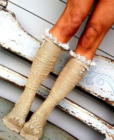 Ivory Frilly Boot Socks Stretchy Cable Knit Over by ThreeBirdNest, $32.50