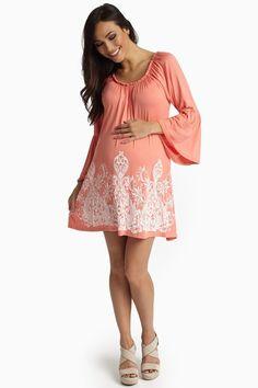 610b91bea36 Coral Printed Bottom Bell Sleeve Maternity Dress Maternity Tunic