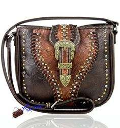 New! Montana West Concealed Carry, Golden Buckle Studded Messenger- Coffee #MontanaWest #MessengerCrossBody