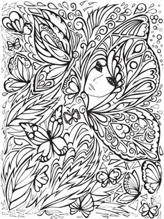 Creative Haven Fanciful Faces Adults 5 coloring pages printable and coloring book to print for free. Find more coloring pages online for kids and adults of Creative Haven Fanciful Faces Adults 5 coloring pages to print. Dover Coloring Pages, Coloring Pages For Grown Ups, Printable Coloring Pages, Adult Coloring Pages, Free Coloring, Coloring Sheets, Colorful Drawings, Colorful Pictures, Tattoo Painting