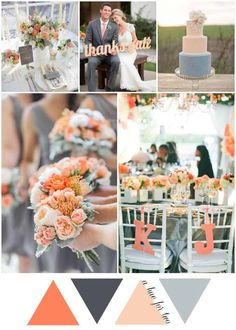 Take a look at the best rustic wedding colors in the photos below and get ideas for your wedding! Rustic + Elegant Jacksonville Wedding – Style Me Pretty Image source Peach and Grey Rustic Country Wedding Colour Scheme – Wedding… Continue Reading → Country Wedding Colors, Grey Wedding Theme, Spring Wedding Colors, Wedding Color Schemes, Wedding Themes, Wedding Decorations, Wedding Blog, Colour Schemes, Peach Wedding Theme