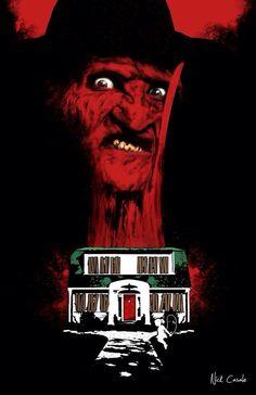 Houses of Horror - Series of 6 Prints on Behance - Jennifer Walker - Alles Uber Kinofilme Horror Posters, Horror Icons, Horror Films, Horror Art, Movie Posters, Otaku, Slasher Movies, Horror House, Freddy Krueger