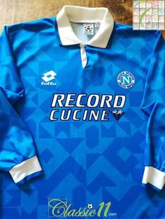 Official Lotto Napoli home long sleeve football shirt from the season. The Championship, Football Jerseys, Vintage Shirts, The Past, Polo Ralph Lauren, Soccer, Seasons, Retro, Store
