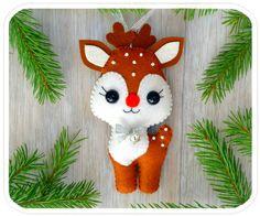 Christmas ornaments felt Reindeer Christmas Deer Cute