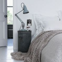 A bedside table can really make or break the bedroom look. It doesn't have to be a boring element of your bedroom design; so get interior design savvy and Serene Bedroom, Dream Bedroom, Cozy Bedroom, Bedroom Neutral, Bedroom Bed, Quirky Bedroom, Nordic Bedroom, Grey Bedrooms, Pastel Bedroom