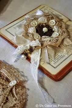 Love this gorgeous ornament.. lace, buttons, ribbons, what is there not to like!