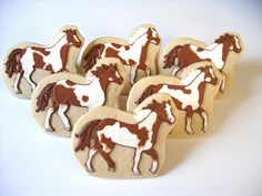 Cookie favors for a Horse Lover's Birthday! Farm Cookies, Horse Cookies, Easter Cookies, Birthday Cookies, Sugar Cookies, Valentine Cookies, Christmas Cookies, Cowboy Birthday Cakes, Horse Birthday Parties