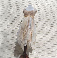 Alternative Wedding / Party Dress, Prom, Boho, Fairy Woodland, Formal, Tattered, Shabby, Gypsy, Eco Earth Friendly, Upcycled Clothing